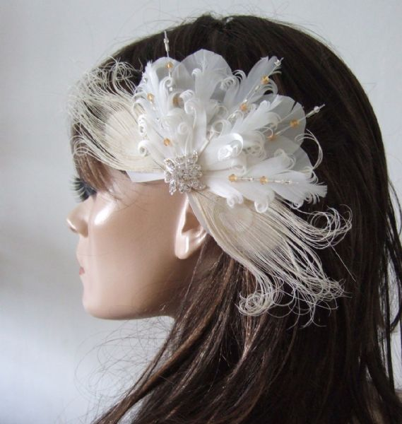 "Bridal White Cream Goose Nagoire and Peacock Feathers with Crystals ""Lena"" Fascinator Clip"